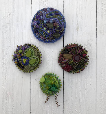 bead embroidery workshop, beaded buttons, make your own button covers